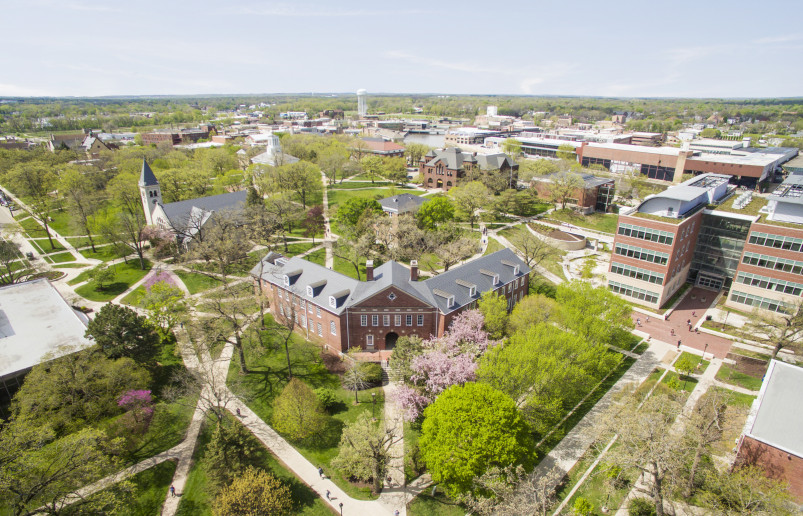 The aerial view of Beloit College campus in spring.