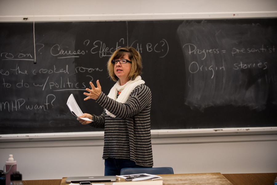Professor of Critical Identity Studies Catherine Orr teaches a class in Morse Ingersoll Hall.
