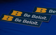 Be Beloit stickers and swag.