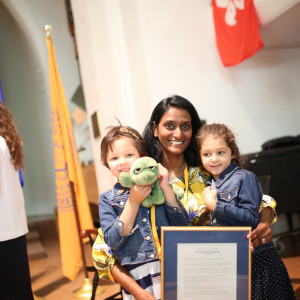 Sudha Pavulari Quamme'94 with her her DSC and two daughters at the 2019 Alumni Assembly.