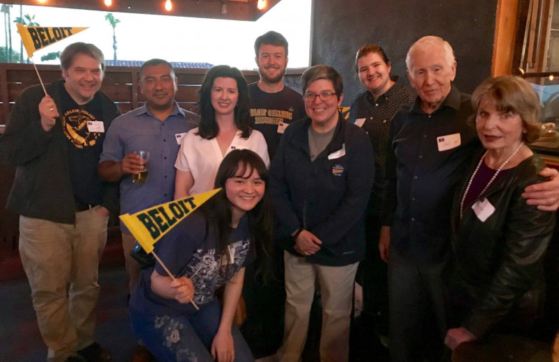 Alumni and faculty at a Beloiters Unite in San Diego