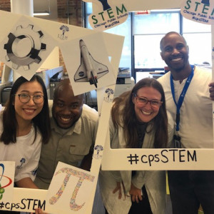 Kate Klein'00 (second person from the right) with her team at Chicago Public School's Department of STEM