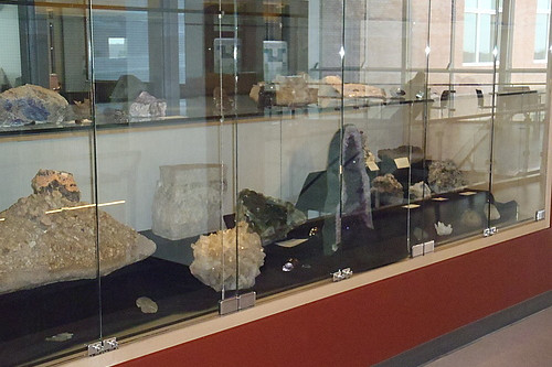 Samples from our mineral and rock collection are on display on the fourth floor of the Sanger Center for the Sciences.
