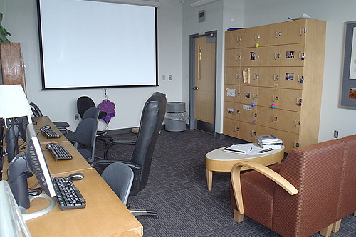 The geology student room provides students a space to work, store belongings, relax between classes, and watch movies.