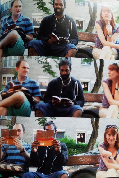 "Alen Keric and Athi Selvendran sit with Amy Sarno on a bench in Budapest.  Sarno asks, ""Have yo..."