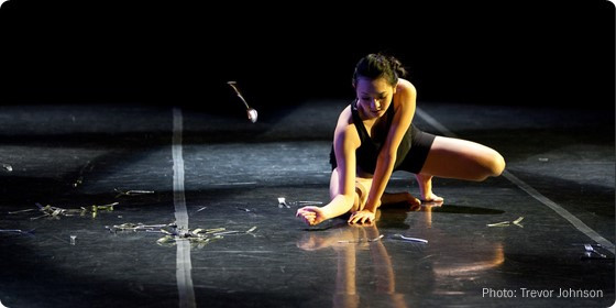 A dancer rehearses for Chelonia.
