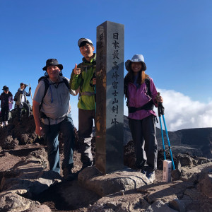 Summit of Fuji-san with , from left to right, Professor Paul Stanley, Shuhei Fujita '18, and Ngwe Phyo '20.