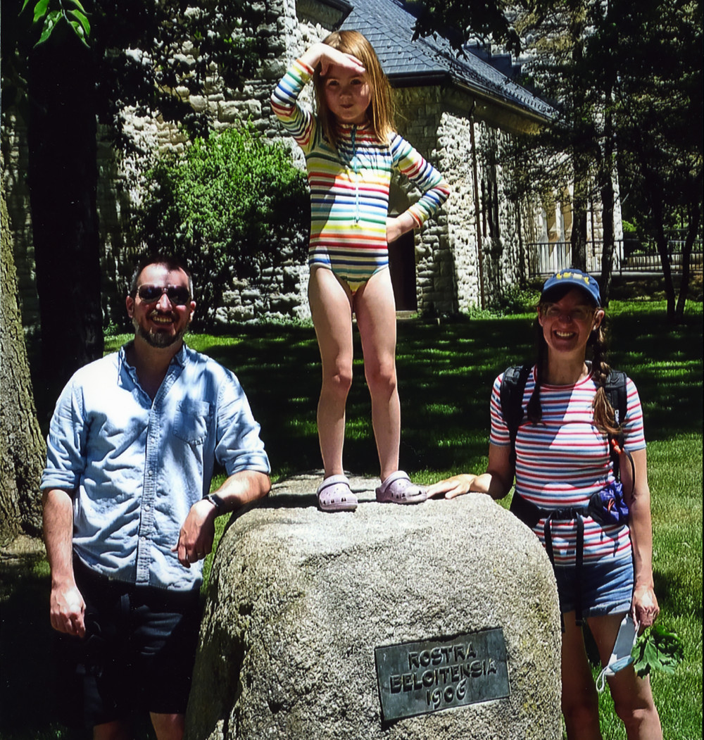 James Burling?07 and Laura Damon-Moore?08 of Madison, Wis., are shown with their daughter, Lilly,...