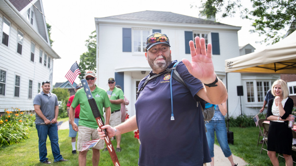 Tom Zurhellen, a veteran and Beloit College alumni, is walking across the country to raise awaren...