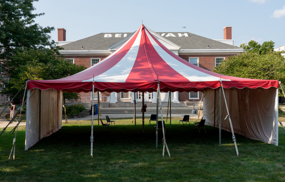 These tents provide shelter and ample space for in-person, outdoor classes.