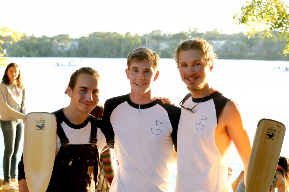 The Buccaneer Boathouse founders, from left, are Philip Adrian?21, Quin Brunner?21 and Henry West...