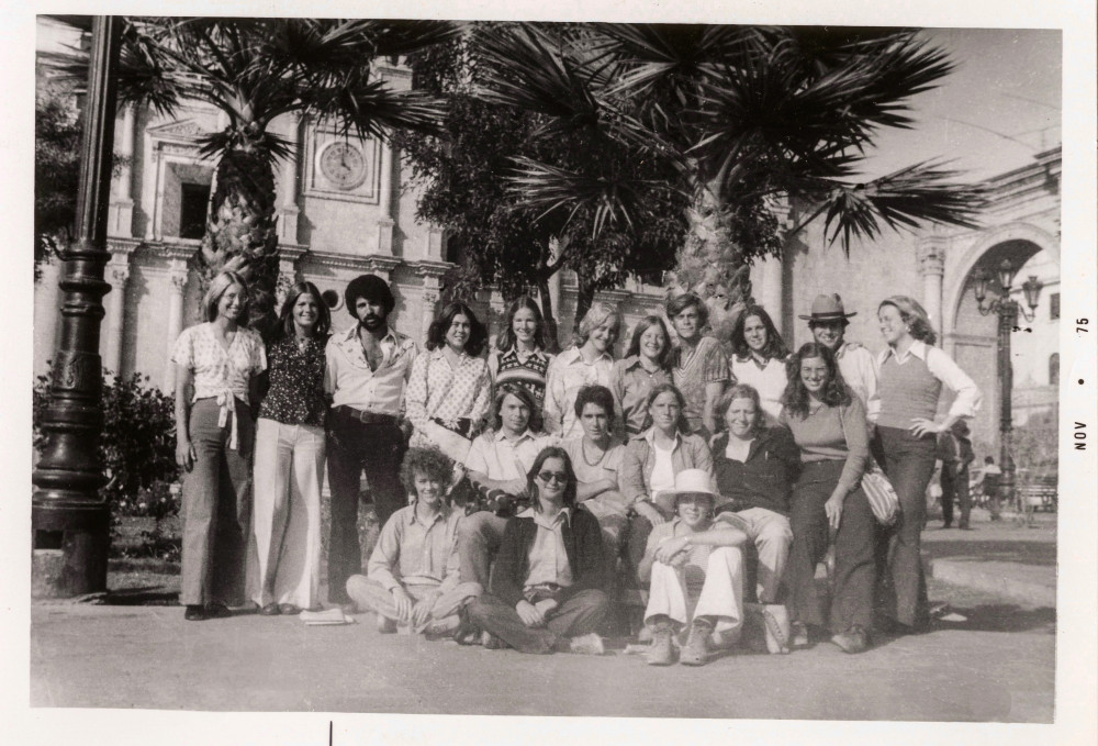 El Grupo, in 1974 at the Cathedral at the Plaza de Armas, Arequipa, Peru. From left, on the groun...