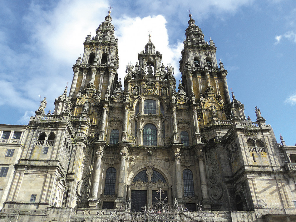 All routes end at the tomb of St. James in the Cathedral of Santiago de Compostela in Spain.