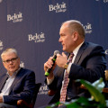 Tim McKevett'86, right, CEO of Beloit Health System, is joined by Michael O'Neill, CEO of Ker...