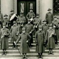 The Student Army Training Corps? unit band poses in front of the World Affairs Center. As many as...