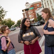 Shivangi Ambardar'21, center, relishes the peace and quiet of Beloit in the summer.