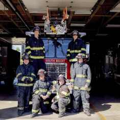 A group of South Beloit firefighters are shown clockwise from top left: Alex Leininger '18, Dun...