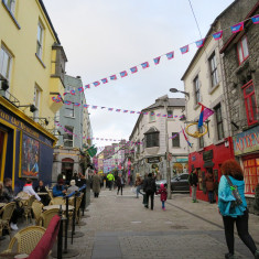 The busy streets of Galway City in Ireland.