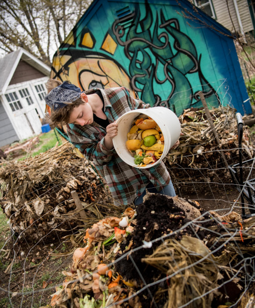 Nicole Fredericks?17, a summer 2017 garden worker, says she now thinks compost ?is the coolest th...