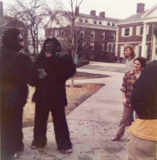 Basic Elmos in gorilla suits on Chapin Quad in 1972.