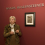 Wanda Peterson Hollensteiner'54 stands next to a recently restored Albrecht Dürer etching in 2009. The 16th century work of art was the first to receive attention in a conservation program made possible by the Hollensteiner family.