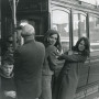 Susan Beebe'72, left, and Barbara Beck'70 on a trolley car. The roommates worked for the U.S. Passport Agency in San Francisco.