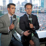 As fans file into Comerica Park in Detroit, Mich., Joe Davis'10, left, and former Los Angeles Dodgers first-baseman Eric Karros preview a Detroit Tigers-Kansas City Royals match-up for Fox Sports.