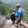 Dexter Kopas'18 and Hanlin Zhang'20 descend Mt. Song in Henan Province.