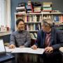 Weining Wang'21 and Professor of Chinese Daniel Youd working together.